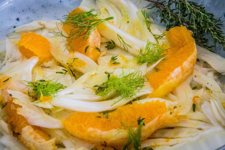 Salade van venkel en sinaasappel