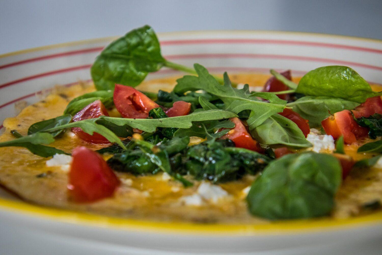 Omelet met spinazie en feta