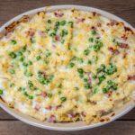 Mac and cheese met verse doperwtjes