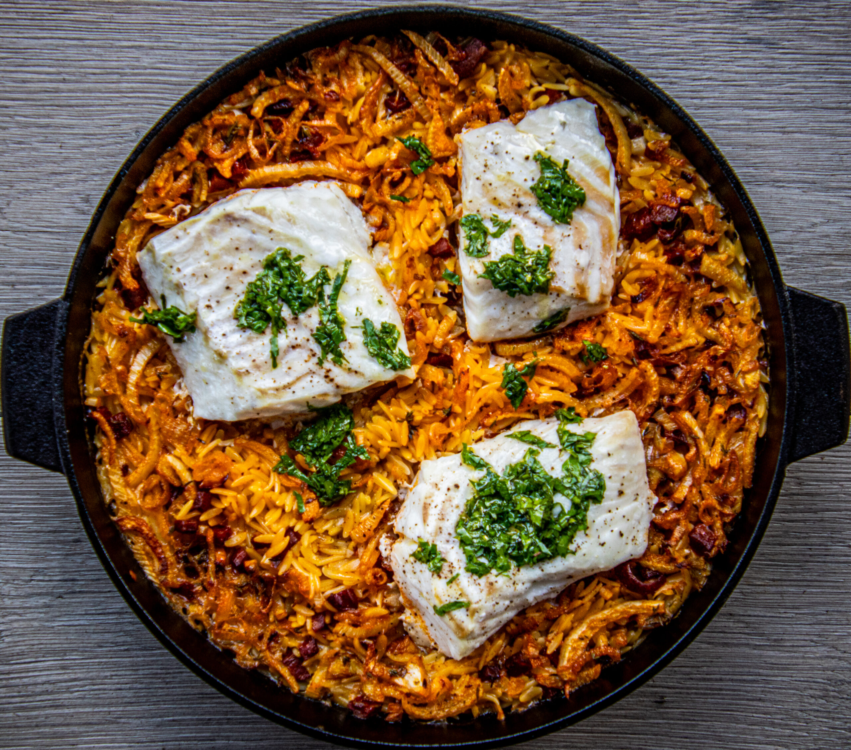 Orzo met kabeljauw en chorizo